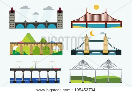 Bridge vector set. Bridges silhouette vector illustration. Different bridges from countries isolated on white. Bridges vector icons. Travel, cars, road, bridge, outdoor. Bridges vector isolated