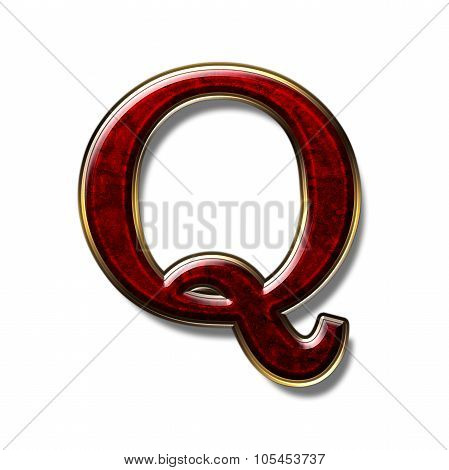 Letter Q - precious stone is red isolated on white background poster
