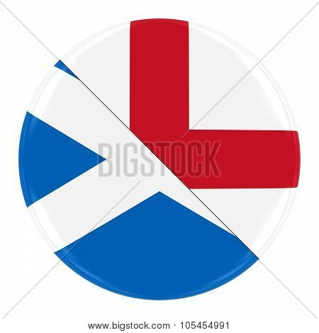 Scottish/engish Relations Concept Image - Badge With Split Flags Of Scotland And England