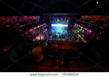 RUSSIA, MOSCOW -?? NOV 30, 2014: Top view of dancefloor and Kazaky band.