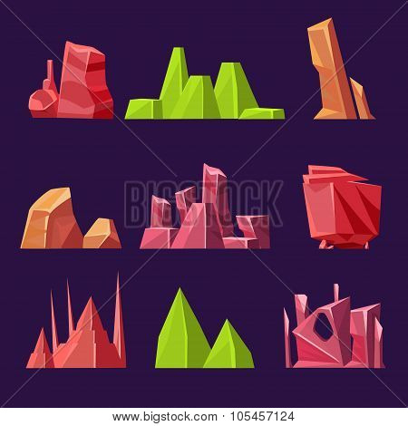Set of Cartoon Vector Stones and Minerals for Games