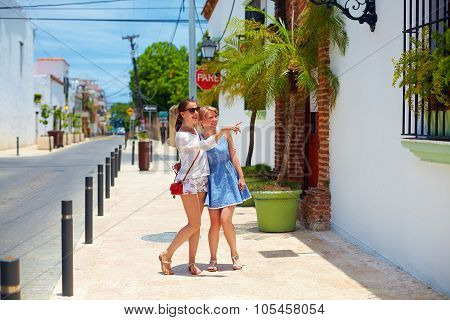 Happy Young Girls, Tourists Walking On Streets In City Tour, Santo Domingo