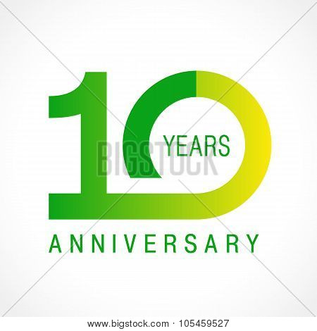 10 years old celebrating logotype. Colored happy anniversary 10 th template numbers. Greetings celebrates. Traditional connected form of ages. Special prize, % off. Card's or label's idea.