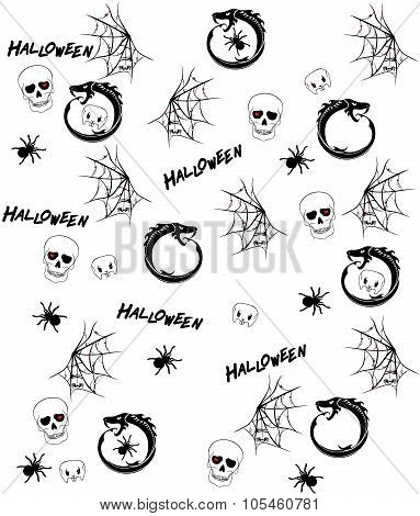 Seamless Pattern With Halloween Drawings