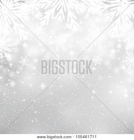 Silver Christmas background with snowflakes