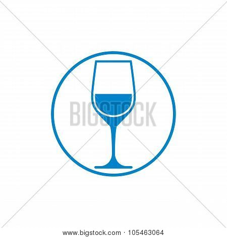 Blue classic wine goblet isolated on white. Wine degustation vector conceptual symbol design element