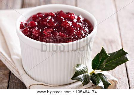 Cranberry sauce in ceramic ramekin