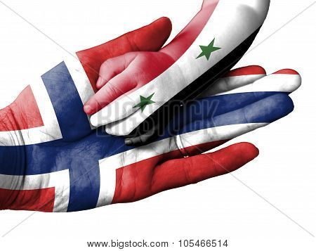 Adult Man Holding A Baby Hand With Norway And Syria Flags Overlaid. Isolated On White