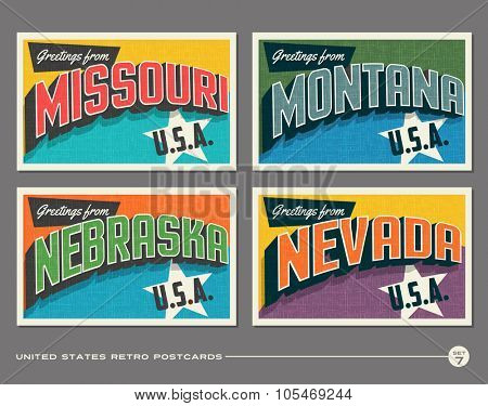 United States vintage typography postcards. Missouri, Montana, Nebraska, Nevada