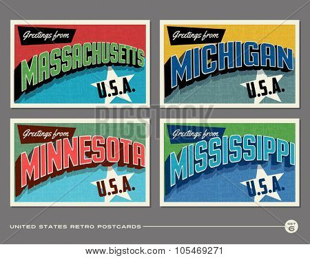 United States vintage typography postcards. Massachusetts, Michigan, Minnesota, Mississippi