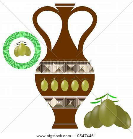 Greek Amphora . Olives Icon on White Background.