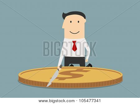 Businessman cutting a huge dollar coin
