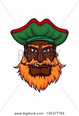 Cartoon pirate captain in green hat