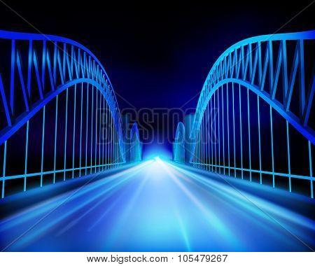 View on the bridge. Vector Illustration.
