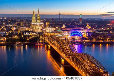 Aerial Cologne Cathedral and Hohenzollern Bridge, Cologne, Germany