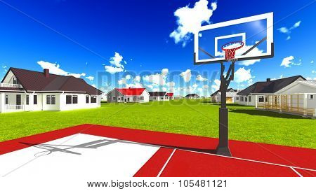 Suburban houses with a basketball field poster