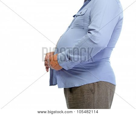 Senior man with fat stomach. Lose weight concept.