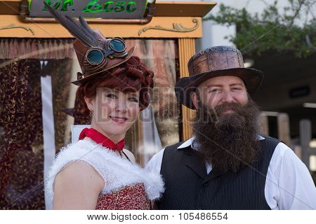 Galveston, Tx/usa - 12 06 2014: Couple Dressed In Vintage Style At Dickens On The Strand Festival In