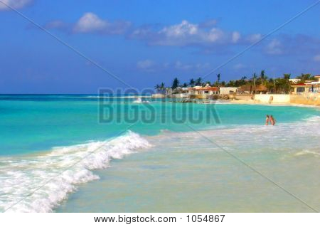 Two Girls On The Beach Of The Isla Mujeres Island