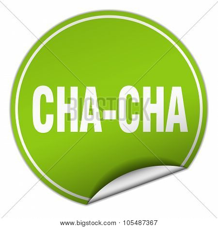 Cha-cha Round Green Sticker Isolated On White