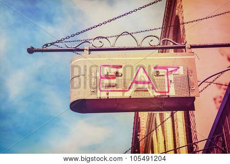 vintage neon restaurant sign.  Instagram toned
