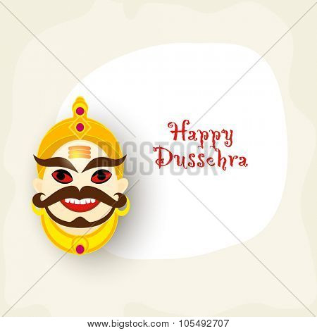 Laughing Ravana face with red eyes for Indian Festival, Happy Dussehra celebration.
