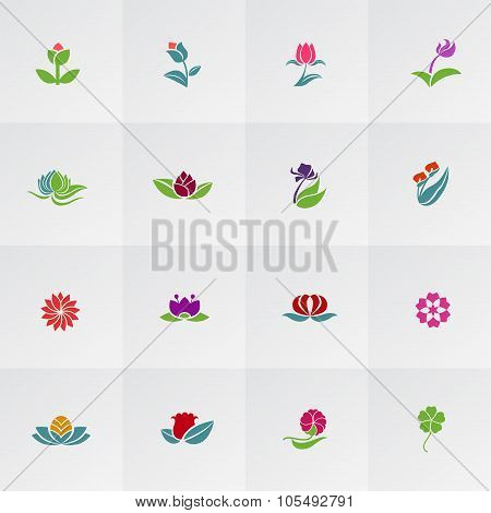 Fantasy Logo Shape Flower Such As Lotus Rose Tulip Sunflower Daisy Clover Leaf And Other Colorful Ic