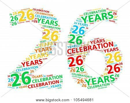 Colorful word cloud for celebrating a 26 year birthday or anniversary
