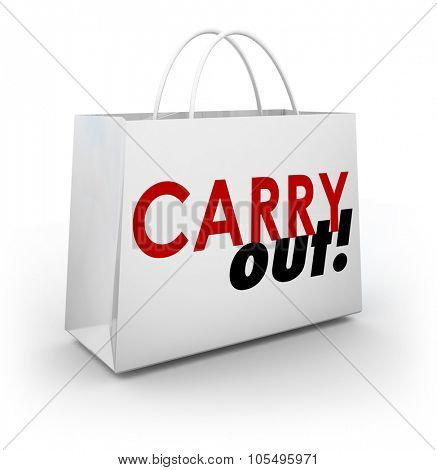 Carry Out words on a white 3d shopping bag to illustrate meal or dining to go from a restaurant, cafe, or diner