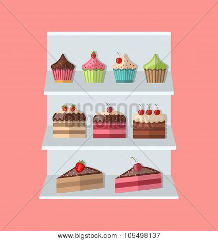 Delicious sweets piece cake stand market icons set