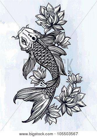 Hand drawn fish Koi carp with flowers.