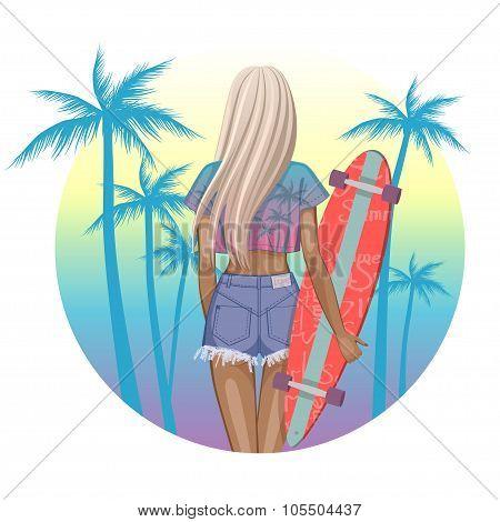 Beautiful fashion girl with longboard