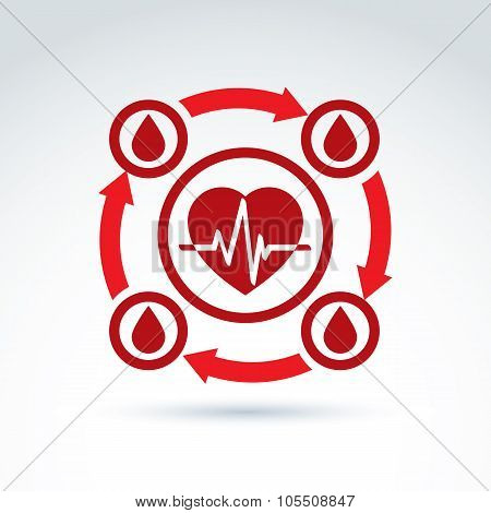 Vector Illustration Of A Red Heart Symbol With An Ecg Placed In A Circle, Heartbeat Line, Medical Ca