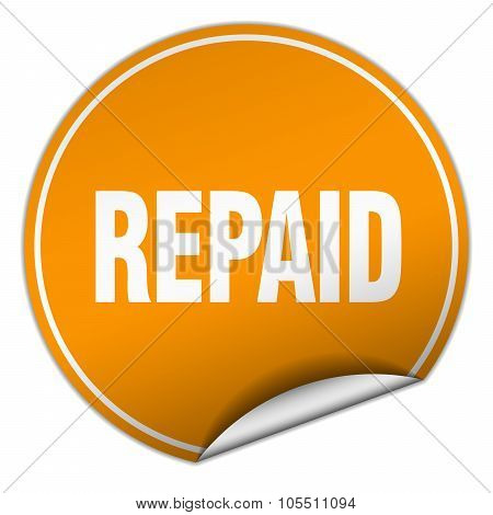 Repaid Round Orange Sticker Isolated On White
