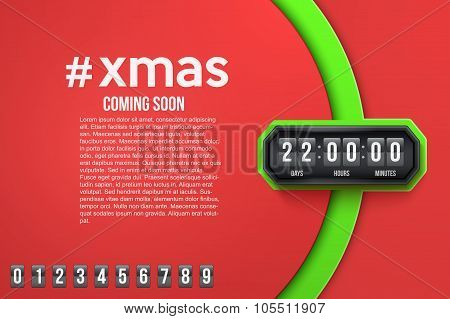 Creative Background Merry Christmas Coming Soon and countdown timer with digit samples. Vector Illustration isolated on white background. poster