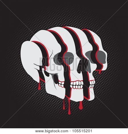 Sliced surreal Skull on black background poster