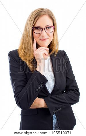Professional successful business woman with eyeglasses isolated on white background