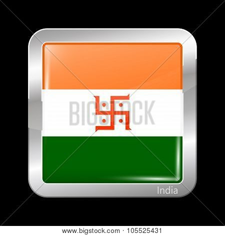 India Jain Variant Flag. Metallic Icon Square Shape