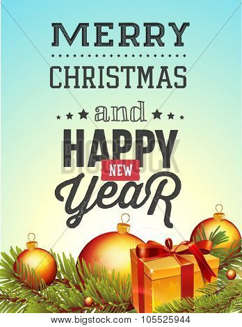Christmas and new year lettering background.