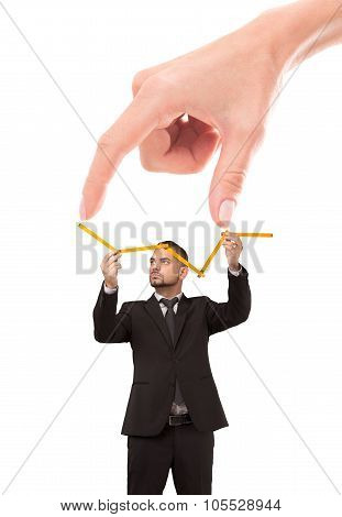 Woman's fingers showing distance to success