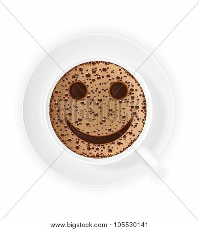 Cup Of Coffee Crema And Smiley Symbol Vector Illustration