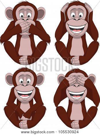 Set of four monkeys