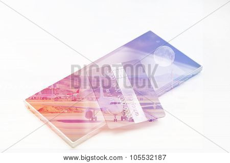 Double exposure: credit card on smartphone . Abstract financial background trade colorful pink abstract. Business concept. Vintage style filtered picture