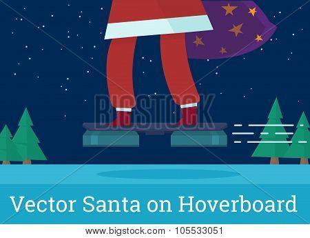 Vector Santa flying on hover board. Futuristic Christmas transportation poster
