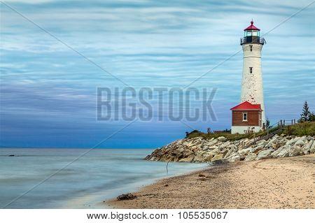 Crisp Point Lighthouse At Sundown