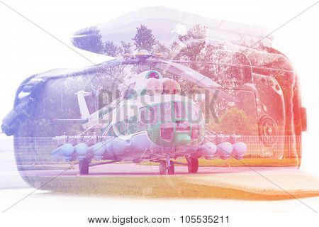 Double exposure: carrying case for the camera and a helicopter. Business press resque and travel concept. Vintage style filtered picture