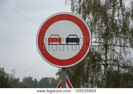 Traffic Sign No Overtaking / No Passing On Rural Road