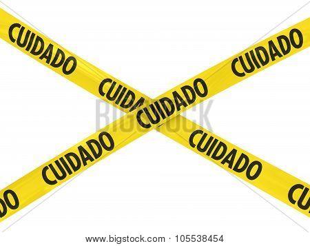 Yellow Cuidado Barrier Tape Cross