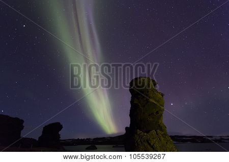 Northern Lights Above Myvatn Lake,iceland