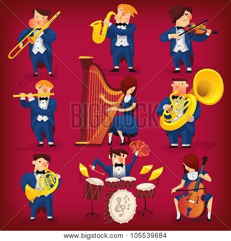 Set of musicians playing in classic symphonic orchestra on all kinds of instruments poster
